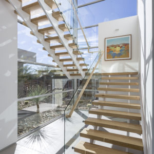 Double Stringer Stair with Glass Railing