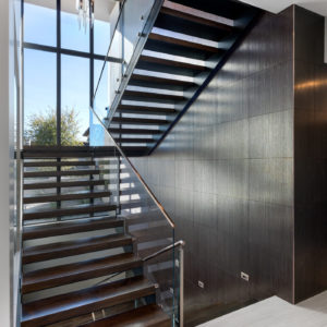 Double Stringer Stair with Glass Standoff Railing