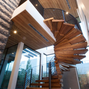 Floating Spiral Stair with Walnut Steps