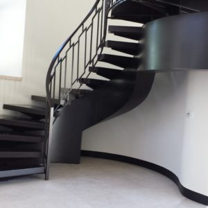 Floating Wood Stair with Modern Railing