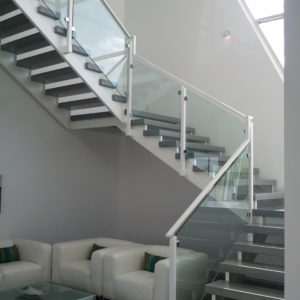 Freestanding Steel and Glass Stairway