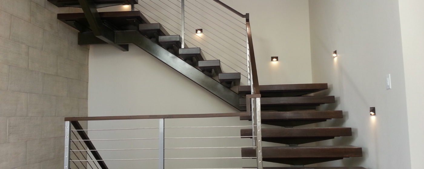 Single Stringer with Wood Steps and Cable Rail