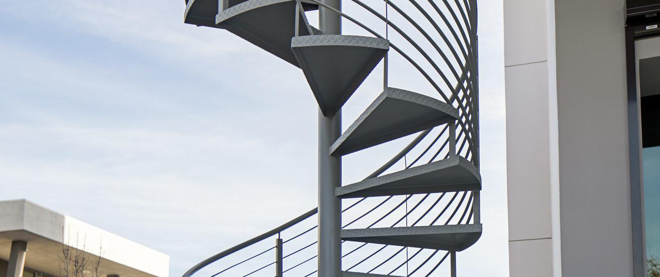 Spiral Stairway with Horizontal Bar Railing