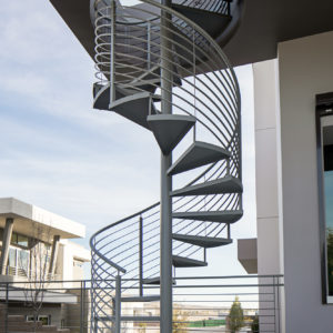 Spiral Stairway with Horizontal Bar Railing