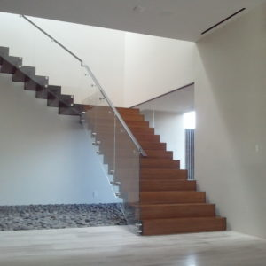 Steel Sawtooth Stringer With Glass Railing and Standoffs and Square Edge Bamboo Steps